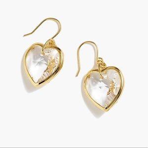 J Crew Crystal heart earrings